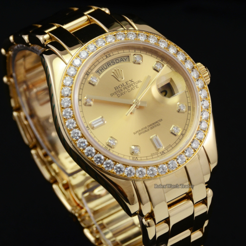 Rolex Day-Date Masterpiece 18948 Serviced by The Manufacturer with 2 Years Warranty Yellow Gold Champagne Diamond Dot Dial Diamond Bezel Oyster II / Pearlmaster Bracelet 39mm Men's Watch For Sale Available Purchase Buy Online with Part Exchange or Direct Sale Manchester North West England UK Great Britain Buy Today Free Next Day Delivery Warranty Luxury Watch Watches