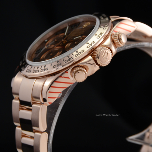 Rolex Daytona 116505 Serviced by Manufacturer with Stickers and 2 Year Warranty Chocolate Arabic Dial Rose Gold Discontinued Out of Production For Sale Available Purchase Buy Online with Part Exchange or Direct Sale Manchester North West England UK Great Britain Buy Today Free Next Day Delivery Warranty Luxury Watch Watches