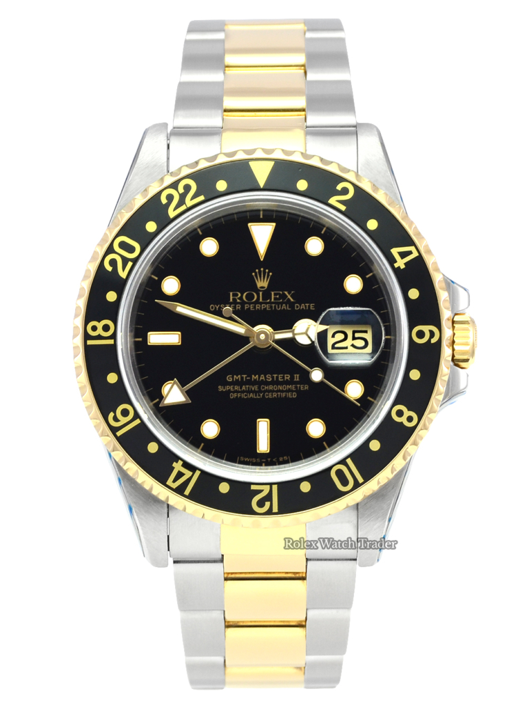 Rolex GMT-Master II 16713 Bi-Metal Serviced by Rolex with Stickers Pre-Owned Used Second Hand Black Dial Bimetal Stainless Steel & Yellow Gold Rolex Service with 2 Years Warranty For Sale Available Purchase Buy Online with Part Exchange or Direct Sale Manchester North West England UK Great Britain Buy Today Free Next Day Delivery Warranty Luxury Watch Watches