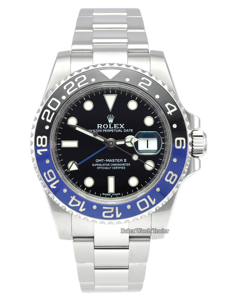 "Rolex GMT-Master II 116710BLNR ""Batman"" 2016 Pre-Owned Second Hand Used Previously Owned Blue & Black Stainless Steel 1 Year Warranty For Sale Available Purchase Buy Online with Part Exchange or Direct Sale Manchester North West England UK Great Britain Buy Today Free Next Day Delivery Warranty Luxury Watch Watches"