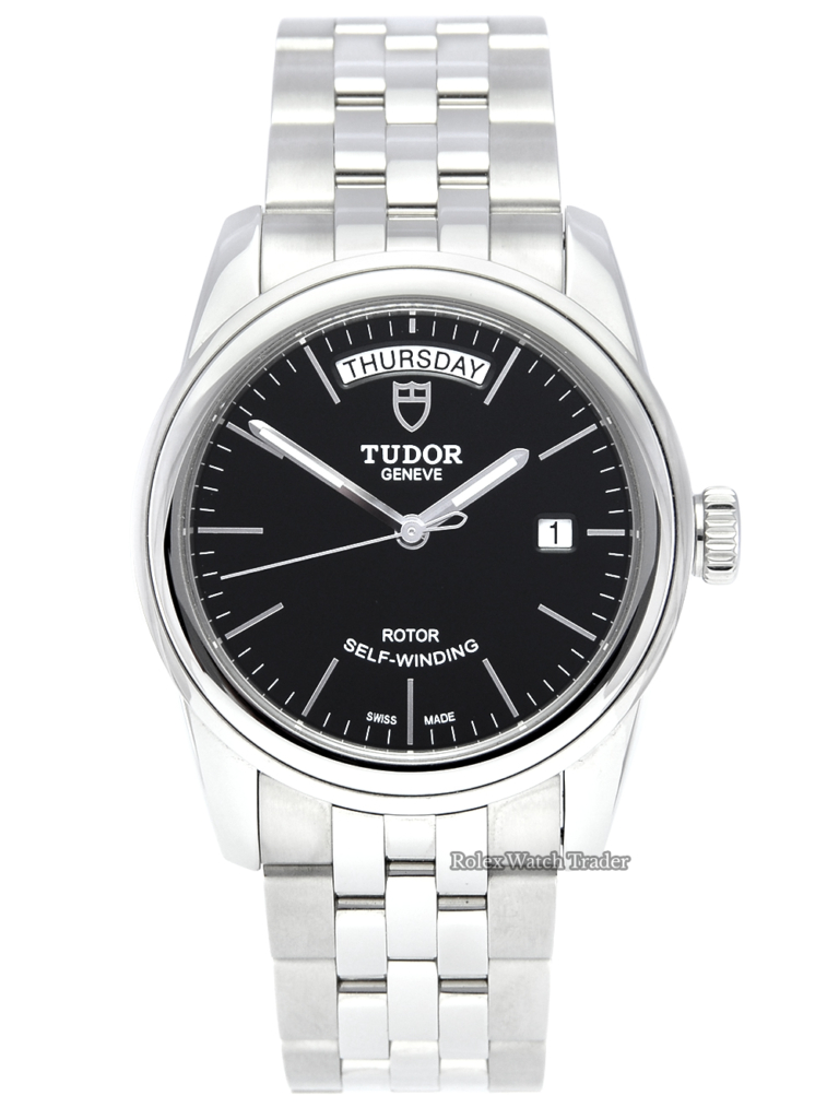 Tudor Glamour Date+Day 56000 Black Dial 2021 Unworn with Weekday Stainless Steel Brand New Unused Cheaper Than Retail £250 OFF For Sale Available Purchase Buy Online with Part Exchange or Direct Sale Manchester North West England UK Great Britain Buy Today Free Next Day Delivery Warranty Luxury Watch Watches
