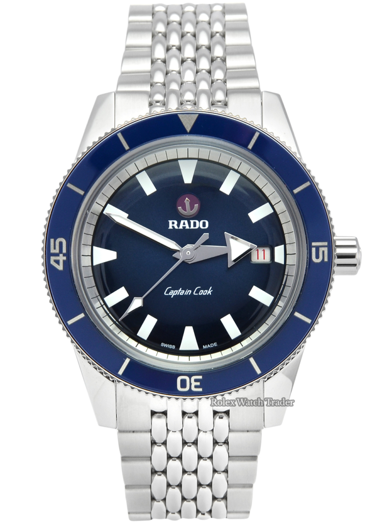 Rado Captain Cook Automatic R32505203 Unworn 2021 Stainless Steel Blue Dial Men's Brand New For Sale Available Purchase Buy Online with Part Exchange or Direct Sale Manchester North West England UK Great Britain Buy Today Free Next Day Delivery Warranty Luxury Watch Watches