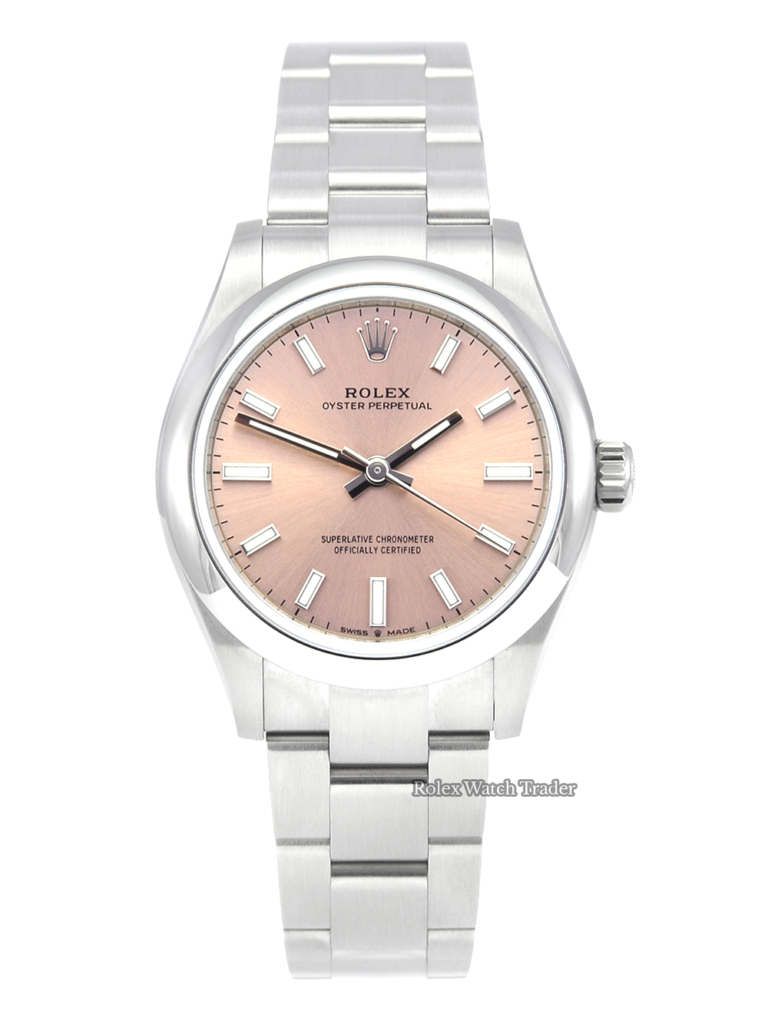 Rolex Oyster Perpetual 31mm 277200 Pink Sunburst Effect Metallic Rose Gold Dial 2021 UK Unworn Brand New Ladies' Women's For Sale Available Purchase Buy Online with Part Exchange or Direct Sale Manchester North West England UK Great Britain Buy Today Free Next Day Delivery Warranty Luxury Watch Watches