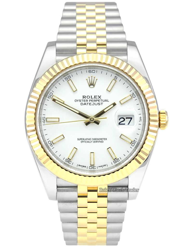 Rolex Datejust 41 126333 Bi-Metal White Baton Dial 41mm Jubilee Pre-Owned 2017 Used Second Hand For Sale Available Purchase Buy Online with Part Exchange or Direct Sale Manchester North West England UK Great Britain Buy Today Free Next Day Delivery Warranty Luxury Watch Watches