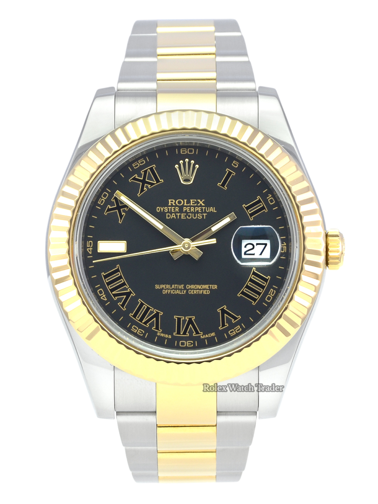 Rolex Datejust II 116333 Slate Grey Roman Numeral Dial Bi-Metal Pre-Owned Used Second Hand Rare Unique Dial For Sale Available Purchase Buy Online with Part Exchange or Direct Sale Manchester North West England UK Great Britain Buy Today Free Next Day Delivery Warranty Luxury Watch Watches