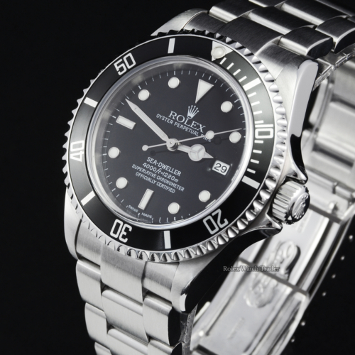 Rolex Sea-Dweller 4000 16600 Complete Set 2003 with Service History No Lug Holes Pre-Owned Second Hand Vintage Used Seadweller Diving Stainless Steel Oyster Men's For Sale Available Purchase Buy Online with Part Exchange or Direct Sale Manchester North West England UK Great Britain Buy Today Free Next Day Delivery Warranty Luxury Watch Watches Sports
