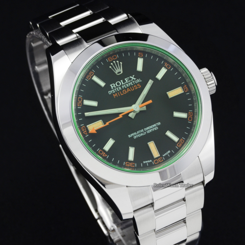 Rolex Milgauss 116400GV Black Dial Green Glass 2019 Stainless Steel Oyster Bracelet Pre-Owned Second Hand For Sale Available Purchase Buy Online with Part Exchange or Direct Sale Manchester North West England UK Great Britain Buy Today Free Next Day Delivery Warranty Luxury Watch Watches