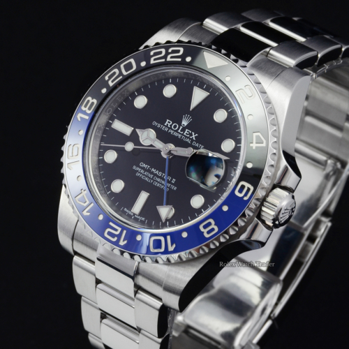 "Rolex GMT-Master II 116710BLNR ""Batman"" 2017 Oyster Bracelet Discontinued Out of Production Pre-Owned Second Hand Used Previously Owned For Sale Available Purchase Buy Online with Part Exchange or Direct Sale Manchester North West England UK Great Britain Buy Today Free Next Day Delivery Warranty Luxury Watch Watches"