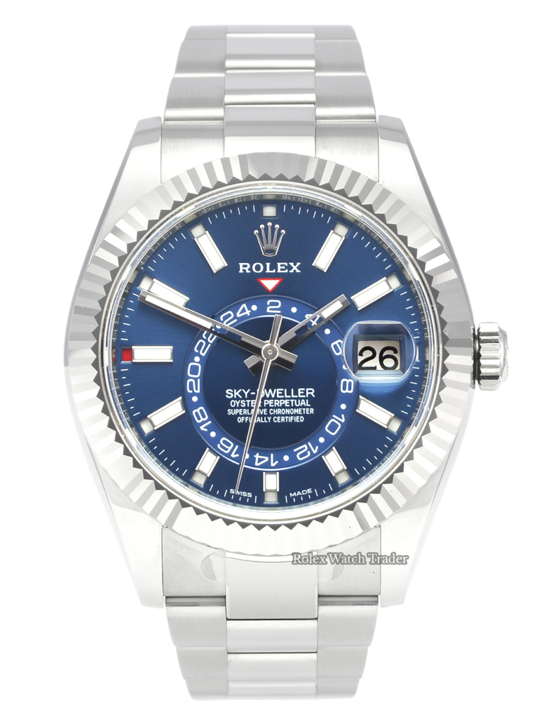 Rolex Sky-Dweller 326934 Blue Dial 2020 Unworn 42mm Stainless Steel Skydweller SD42 42mm Men's Watch Oyster Bracelet For Sale Available Purchase Buy Online with Part Exchange or Direct Sale Manchester North West England UK Great Britain Buy Today Free Next Day Delivery Warranty Luxury Watch Watches