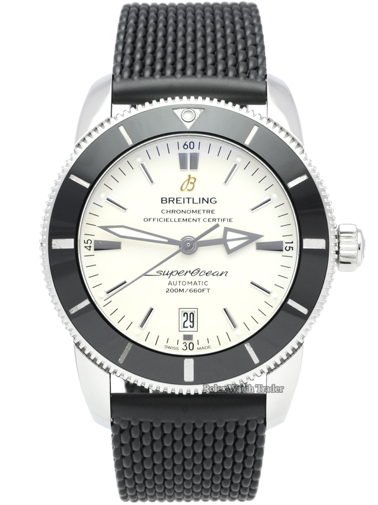 Breitling Superocean Heritage II 46 AB202012/G828/152A Cream Dial Black Rubber Strap Pre-Owned Used Second Hand 2019 Men's 46mm For Sale Available Purchase Buy Online with Part Exchange or Direct Sale Manchester North West England UK Great Britain Buy Today Free Next Day Delivery Warranty Luxury Watch Watches