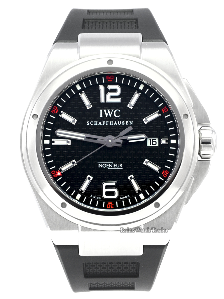 IWC Mission Earth Ingenieur IW323601 Serviced by IWC Automatic Black Dial Arabic 12 and 6 Brushed Finish Stainless Steel Case 46mm Men's Pre-Owned Second Hand Used Serviced For Sale Available Purchase Buy Online with Part Exchange or Direct Sale Manchester North West England UK Great Britain Buy Today Free Next Day Delivery Warranty Luxury Watch Watches