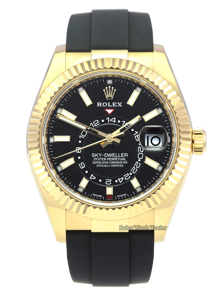 Rolex Sky-Dweller 326238 Black Dial 2021 Yellow Gold Oysterflex Pre-Owned Used Second Hand Very Good Condition For Sale Available Purchase Buy Online with Part Exchange or Direct Sale Manchester North West England UK Great Britain Buy Today Free Next Day Delivery Warranty Luxury Watch Watches