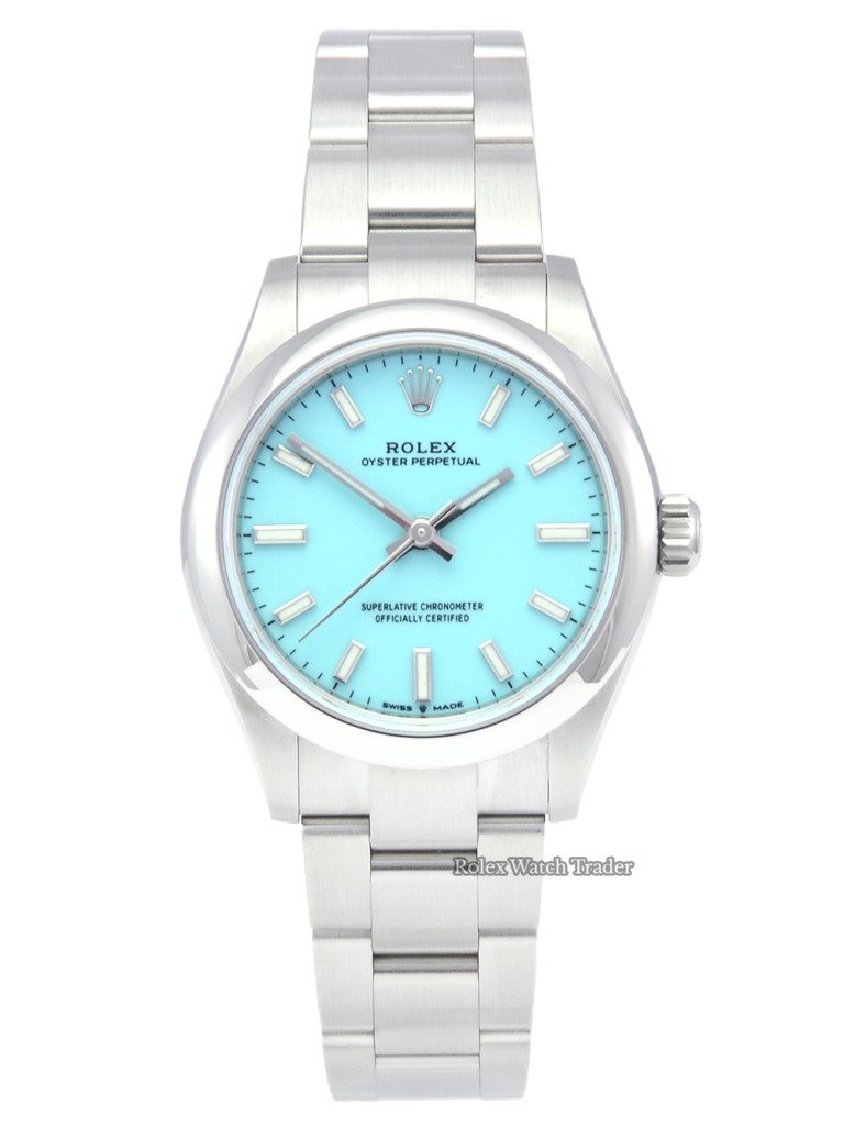 """Rolex Oyster Perpetual 31 277200 """"Tiffany"""" Turquoise Dial Unworn Late 2020 Ladies' Women's For Sale Available Purchase Buy Online with Part Exchange or Direct Sale Manchester North West England UK Great Britain Buy Today Free Next Day Delivery Warranty Luxury Watch Watches"""