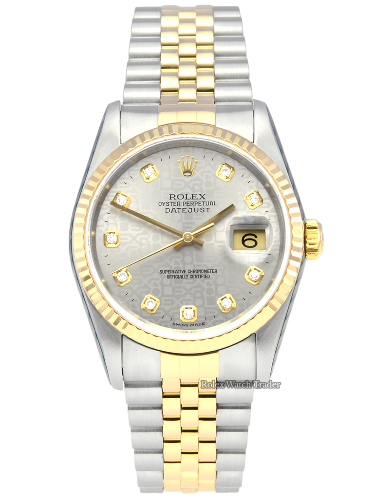 Rolex Datejust 16233 Serviced by Rolex with 2 Years Warranty Grey Jubilee Diamond Dot Dial Jubilee Bracelet Men's Unisex Women's For Sale Available Purchase Buy Online with Part Exchange or Direct Sale Manchester North West England UK Great Britain Buy Today Free Next Day Delivery Warranty Luxury Watch Watches