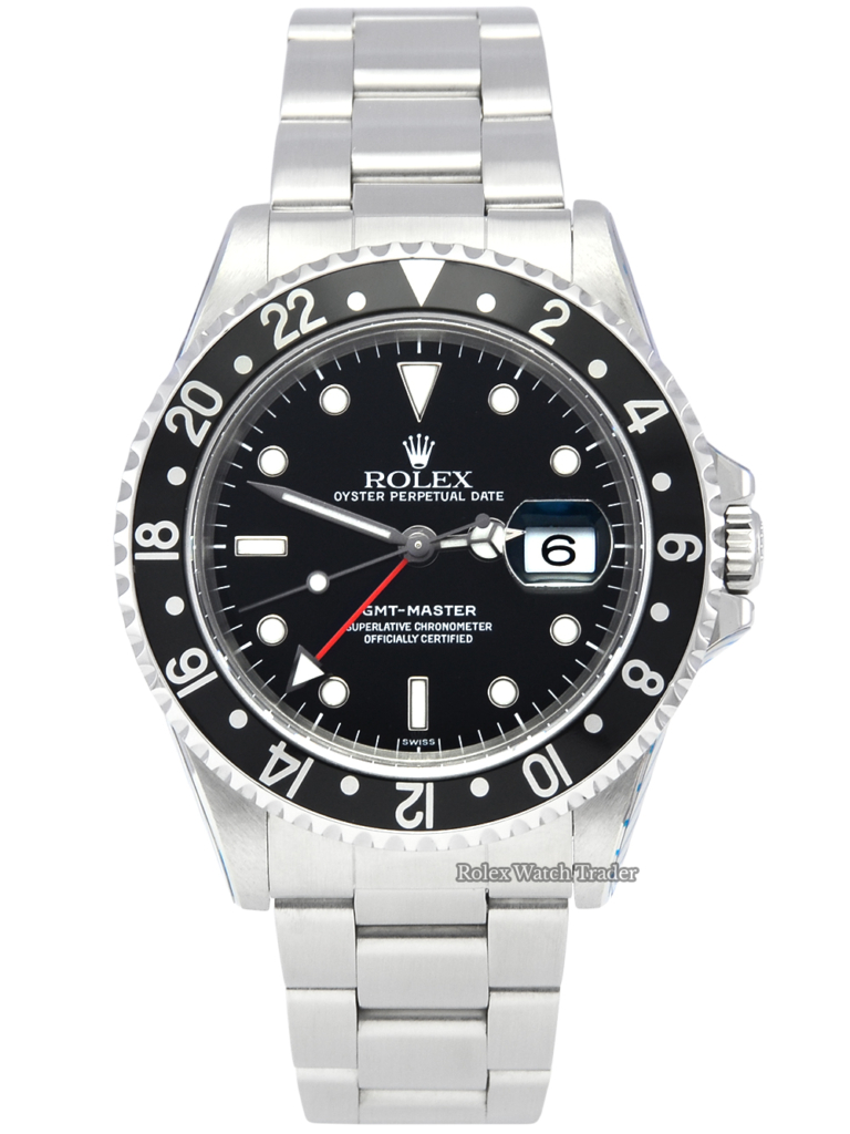 """Rolex GMT-Master 16700 """"Swiss"""" Only Dial SERVICED BY ROLEX with 2 Years Warranty Stainless Steel Vintage 40mm Men's For Sale Available Purchase Buy Online with Part Exchange or Direct Sale Manchester North West England UK Great Britain Buy Today Free Next Day Delivery Warranty Luxury Watch Watches"""