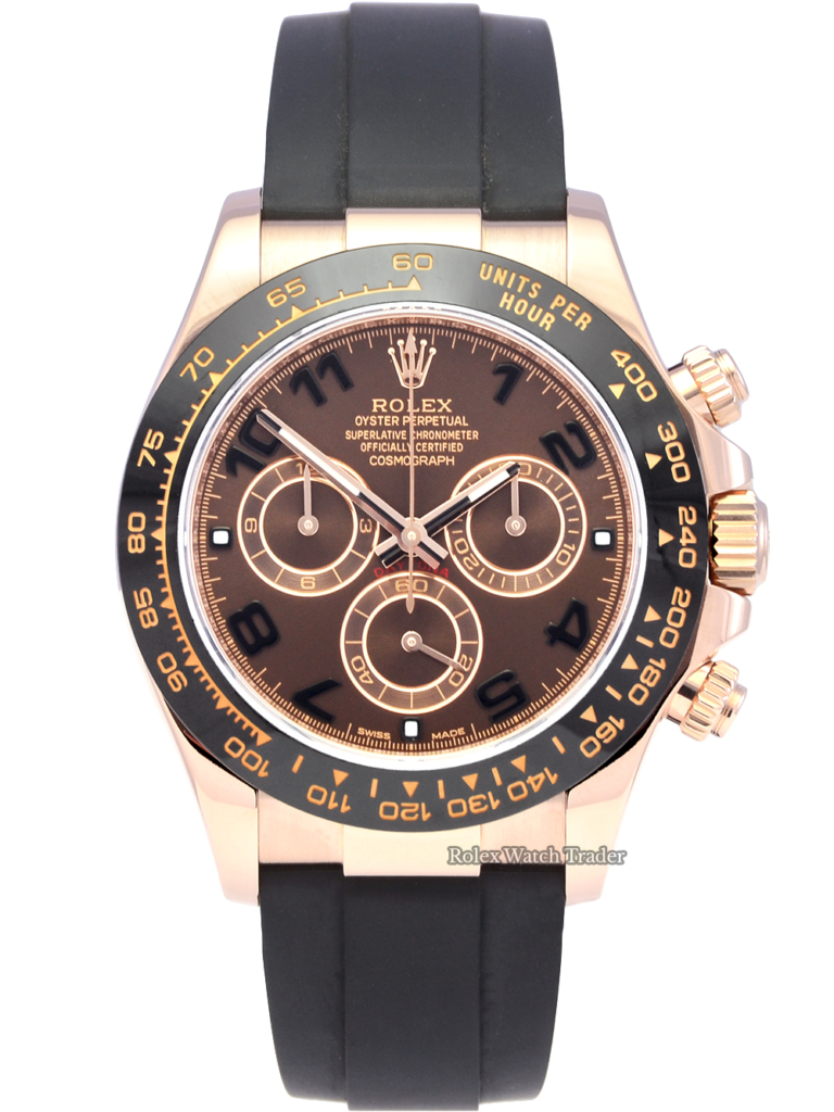 Rolex Daytona 116515LN Chocolate Arabic Numeral Dial Oysterflex Rubber Strap For Sale Available Purchase Buy Online with Part Exchange or Direct Sale Manchester North West England UK Great Britain Buy Today Free Next Day Delivery Warranty Luxury Watch Watches