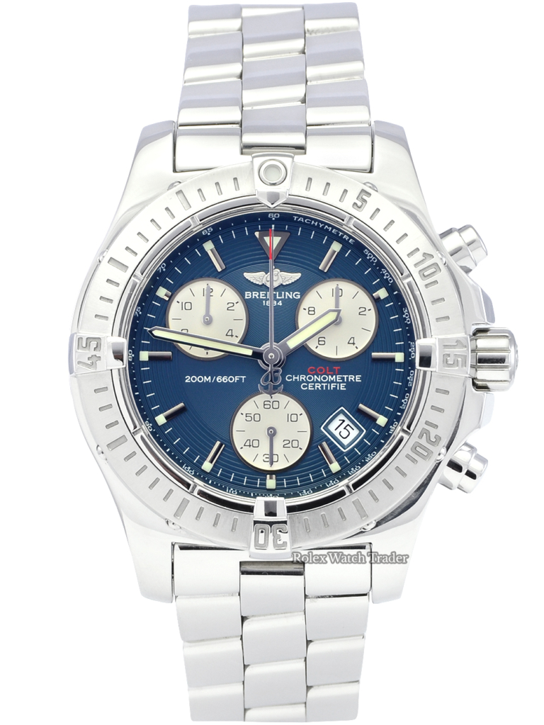 Breitling Colt Chronograph A73380 Blue Dial Pre-Owned Used Second Hand Box & Papers Men's 41mm For Sale Available Purchase Buy Online with Part Exchange or Direct Sale Manchester North West England UK Great Britain Buy Today Free Next Day Delivery Warranty Luxury Watch Watches
