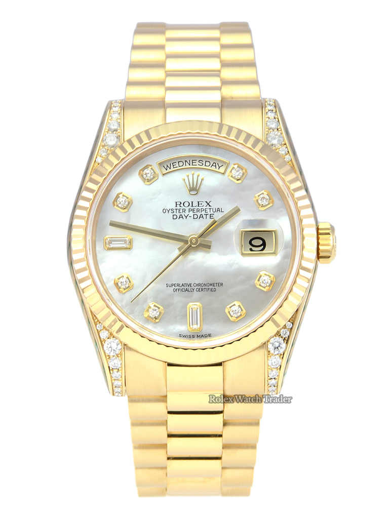 Rolex Day-Date President 118338 SERVICED BY ROLEX Mother of Pearl Gem Set Dial & Diamond Set Shoulders with 2 Years Warranty and Service Stickers Pre-Owned Used Second Hand Men's Women's Unisex For Sale Available Purchase Buy Online with Part Exchange or Direct Sale Manchester North West England UK Great Britain Buy Today Free Next Day Delivery Warranty Luxury Watch Watches