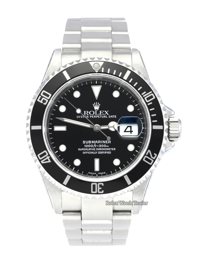 Rolex Submariner Date 16610 SERVICED BY ROLEX with Stickers and 2 Years Warranty Box & Papers Complete Full Set Pre-Owned Second Hand Used Men's Classic For Sale Available Purchase Buy Online with Part Exchange or Direct Sale Manchester North West England UK Great Britain Buy Today Free Next Day Delivery Warranty Luxury Watch Watches