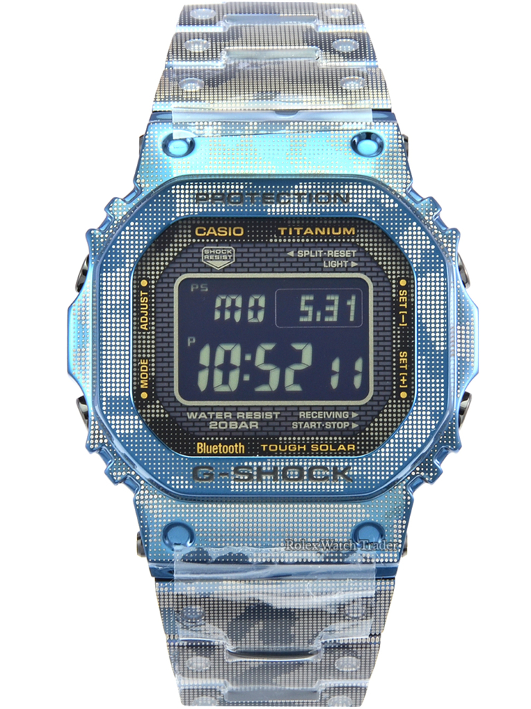 Casio G-Shock Full Metal Titanium Blue Camo GMW-B5000TCF-2ER Brand New Unworn Limited Edition Rectangular Case For Sale Available Purchase Buy Online with Part Exchange or Direct Sale Manchester North West England UK Great Britain Buy Today Free Next Day Delivery Warranty Luxury Watch Watches