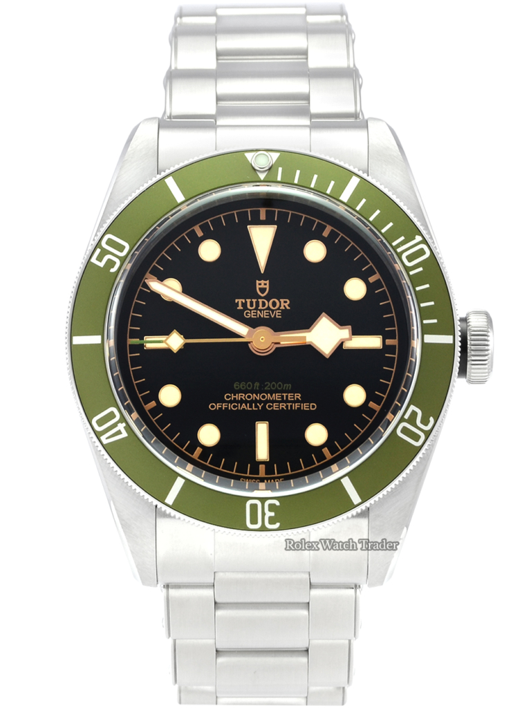 Tudor Black Bay Harrods 79230G Unworn Brand New May 2021 with 5 Years Warranty Men's Unisex 41mm Green Bezel Black Dial Stainless Steel For Sale Available Purchase Buy Online with Part Exchange or Direct Sale Manchester North West England UK Great Britain Buy Today Free Next Day Delivery Warranty Luxury Watch Watches