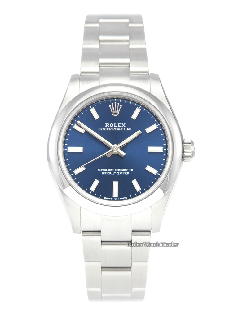 Rolex Oyster Perpetual 31 277200 Bright Blue Dial 2021 UK Unworn Brand New Navy Blue Sunburst Effect Women's Ladies' 31mm For Sale Available Purchase Buy Online with Part Exchange or Direct Sale Manchester North West England UK Great Britain Buy Today Free Next Day Delivery Warranty Luxury Watch Watches