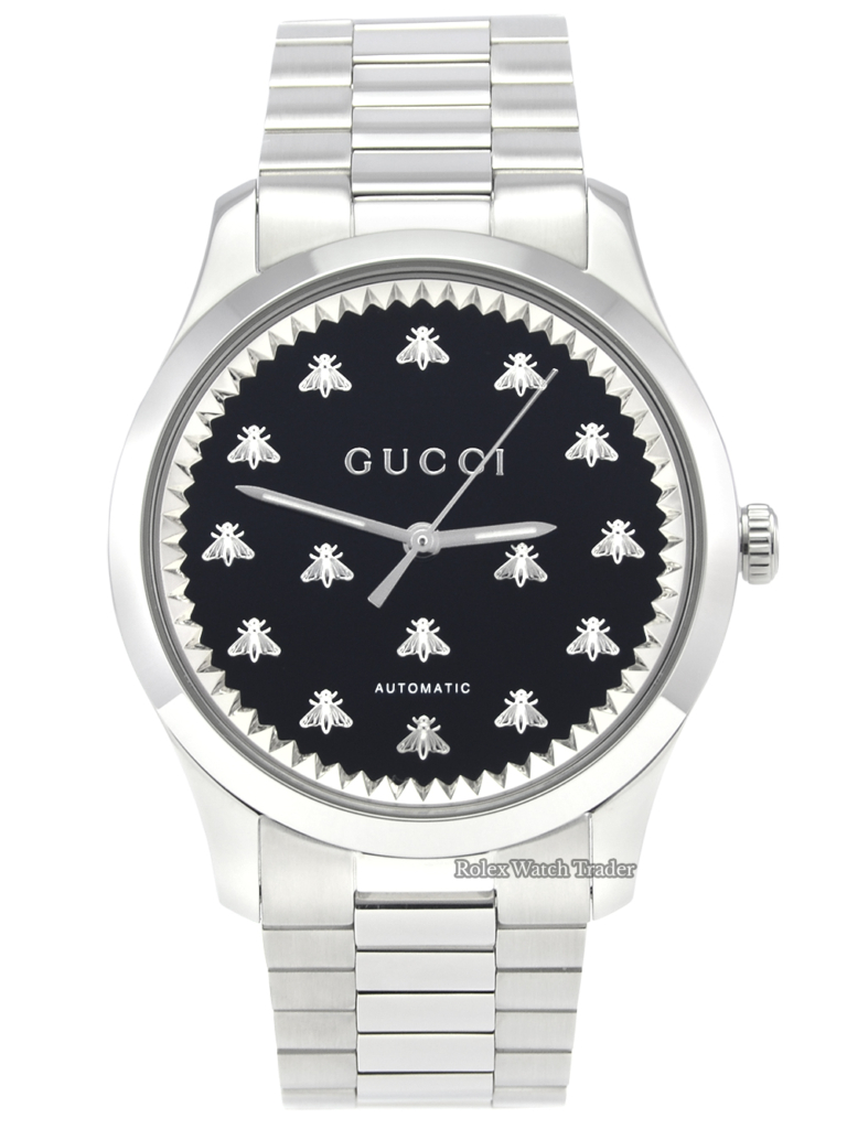 Gucci G-Timeless Automatic YA126283 42mm Black Onyx Bee Motif Dial For Sale Available Purchase Buy Online with Part Exchange or Direct Sale Manchester North West England UK Great Britain Buy Today Free Next Day Delivery Warranty Luxury Watch Watches