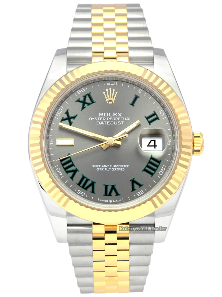 Rolex Datejust 41 126333 Grey Wimbledon Roman Numeral Dial Unworn Mid 2021 5 Years Warranty Brand New Jubilee Bi-Metal Stainless Steel & Yellow Gold Bracelet For Sale Available Purchase Buy Online with Part Exchange or Direct Sale Manchester North West England UK Great Britain Buy Today Free Next Day Delivery Warranty Luxury Watch Watches