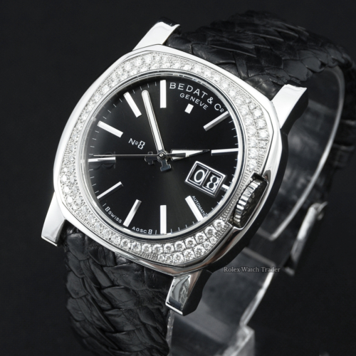 Bedat & Co No. 8 Nº8 888.048.310 Stainless Steel with Double Two Twin Row of Diamonds Set Bezel Black Dial Black Woven Leather Strap Serviced by the Manufacturer with 1 Year Warranty For Sale Available Purchase Buy Online with Part Exchange or Direct Sale Manchester North West England UK Great Britain Buy Today Free Next Day Delivery Warranty Luxury Watch Watches