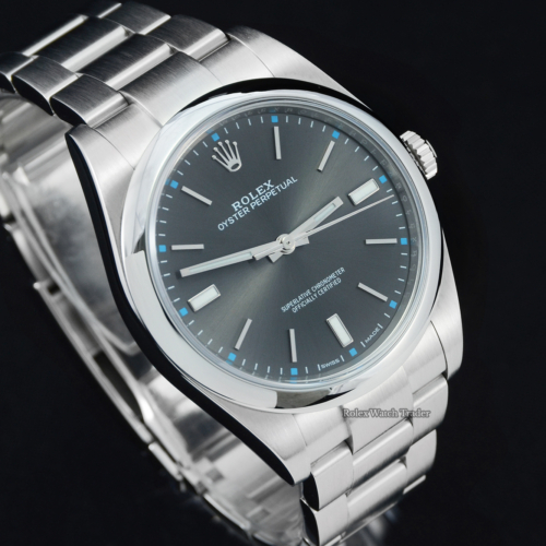 Rolex Oyster Perpetual 114300 39mm Grey Rhodium Dial UK 2018 Luminous Indices Blue Detail Brushed Finish Stainless Steel Screw-Down Crown Oyster Bracelet OP39 Men's For Sale Available Purchase Buy Online with Part Exchange or Direct Sale Manchester North West England UK Great Britain Buy Today Free Next Day Delivery Warranty Luxury Watch Watches