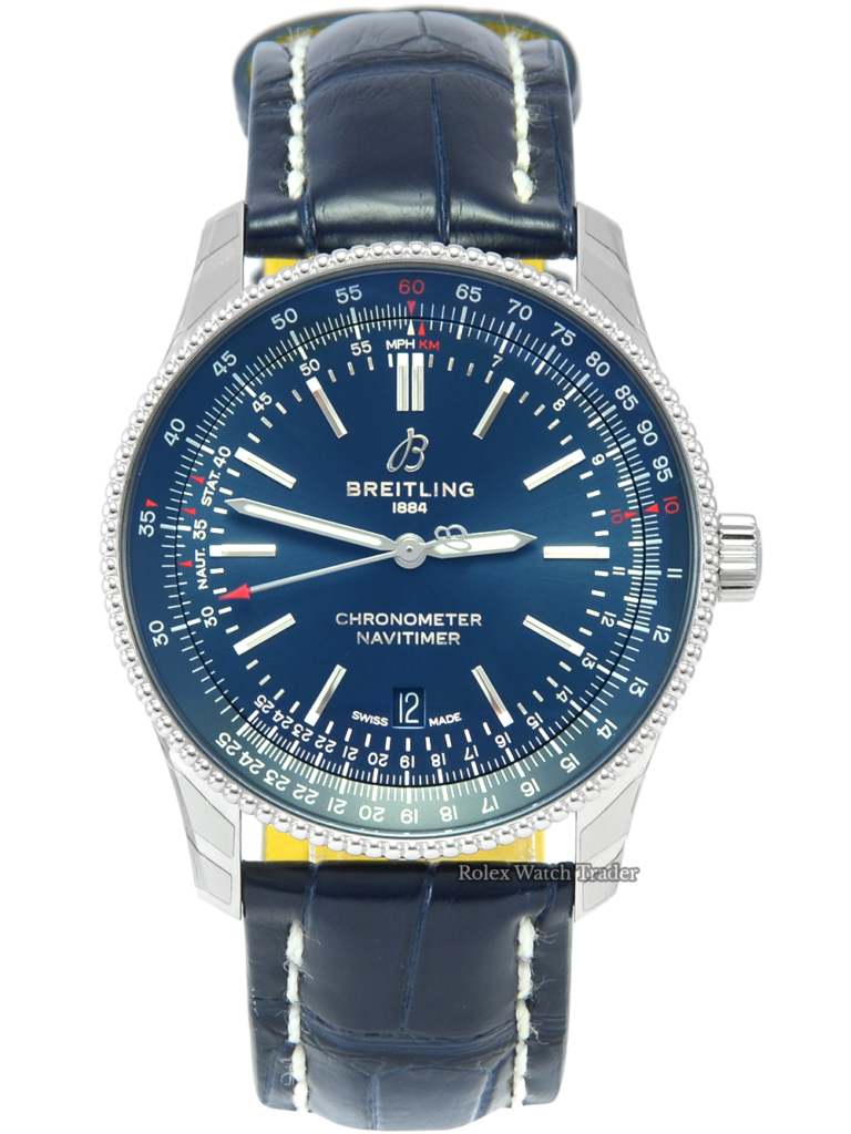 Breitling Navitimer Automatic 41 A17326161C1P3 Blue Dial Blue Leather Strap Stainless Steel Brand New Unworn For Sale Available Purchase Buy Online with Part Exchange or Direct Sale Manchester North West England UK Great Britain Buy Today Free Next Day Delivery Warranty Luxury Watch Watches