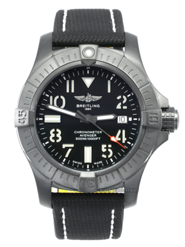 Breitling Avenger Automatic 45 Seawolf Night Mission V17319101B1X1 Brand New Unworn June 2021 Black Dial DLC Coated Titanium Case & Bezel Textile and Calfskin Leather Strap For Sale Available Purchase Buy Online with Part Exchange or Direct Sale Manchester North West England UK Great Britain Buy Today Free Next Day Delivery Warranty Luxury Watch Watches