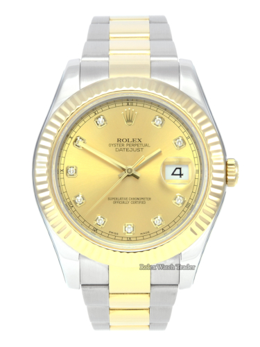 Rolex Datejust II 116333 Serviced by Rolex with Stickers & 2 Years Warranty Bi-Metal Stainless Steel & Yellow Gold Two Tone Champagne Diamond Dot Dial Sunburst Effect Fluted Bezel Screw Down Crown Pre-Owned Second Hand Used Previously Owned 41mm Men's For Sale Available Purchase Buy Online with Part Exchange or Direct Sale Manchester North West England UK Great Britain Buy Today Free Next Day Delivery Warranty Luxury Watch Watches