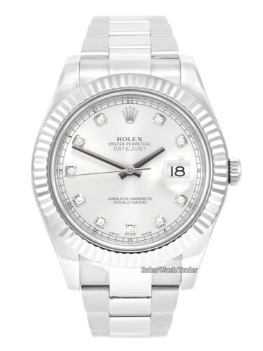 Rolex Datejust II 116334 41mm Silver Diamond Dot Dial Stainless Steel Men's Unisex Pre-Owned Second Hand Used For Sale Available Purchase Buy Online with Part Exchange or Direct Sale Manchester North West England UK Great Britain Buy Today Free Next Day Delivery Warranty Luxury Watch Watches