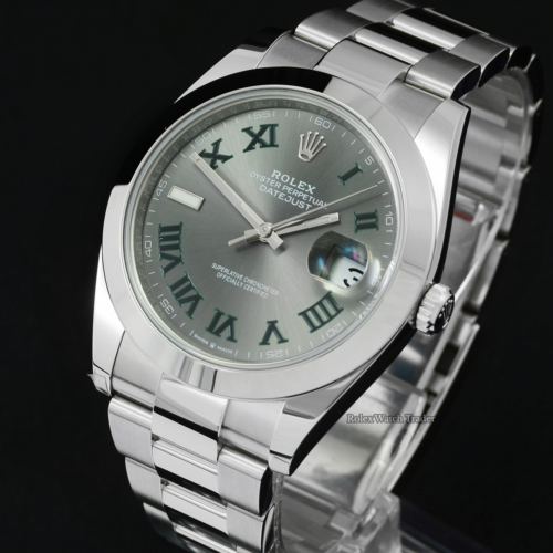 Rolex Datejust 41 126300 Oyster Wimbledon Dial Unworn with some Stickers Brand New Men's 41mm For Sale Available Purchase Buy Online with Part Exchange or Direct Sale Manchester North West England UK Great Britain Buy Today Free Next Day Delivery Warranty Luxury Watch Watches