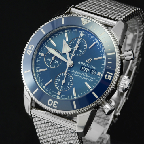 Breitling Superocean Heritage II A13313161C1A1 Unworn 2021 Stickered Brand New Blue Dial Blue Bezel Stainless Steel 44mm Men's For Sale Available Purchase Buy Online with Part Exchange or Direct Sale Manchester North West England UK Great Britain Buy Today Free Next Day Delivery Warranty Luxury Watch Watches