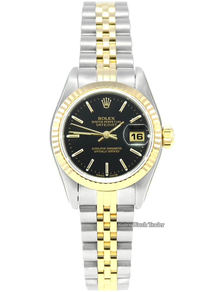 Rolex Lady-Datejust 69173 with Rolex Service and 2 Years Warranty Pre-Owned Second Hand Used Women's Ladies' Bi-Metal Bimetal Stainless Steel Yellow Gold Black Baton Dial Jubilee Bracelet For Sale Available Purchase Buy Online with Part Exchange or Direct Sale Manchester North West England UK Great Britain Buy Today Free Next Day Delivery Warranty Luxury Watch Watches