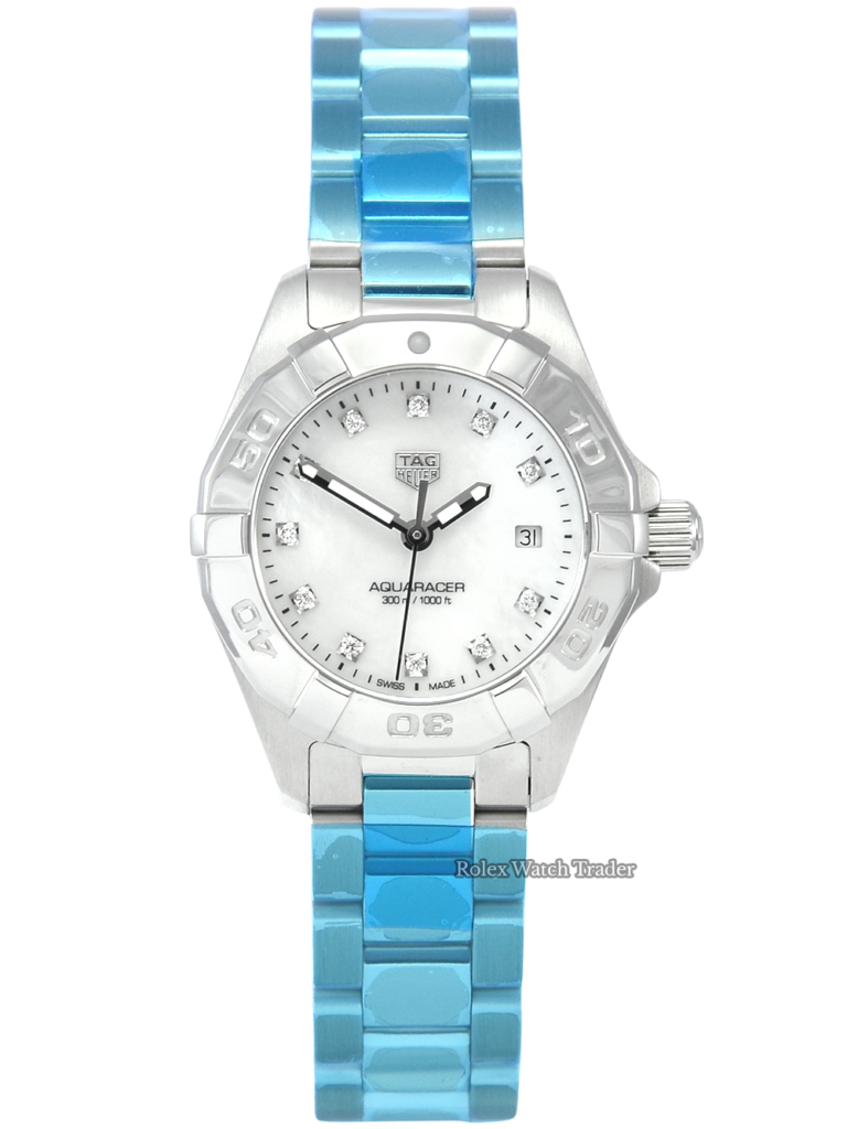 TAG Heuer Aquaracer Quartz WBD1414.BA0741 Unworn Mother of Pearl Diamond Dot Dial Ladies' Women's Stainless Steel For Sale Available Purchase Buy Online with Part Exchange or Direct Sale Manchester North West England UK Great Britain Buy Today Free Next Day Delivery Warranty Luxury Watch Watches