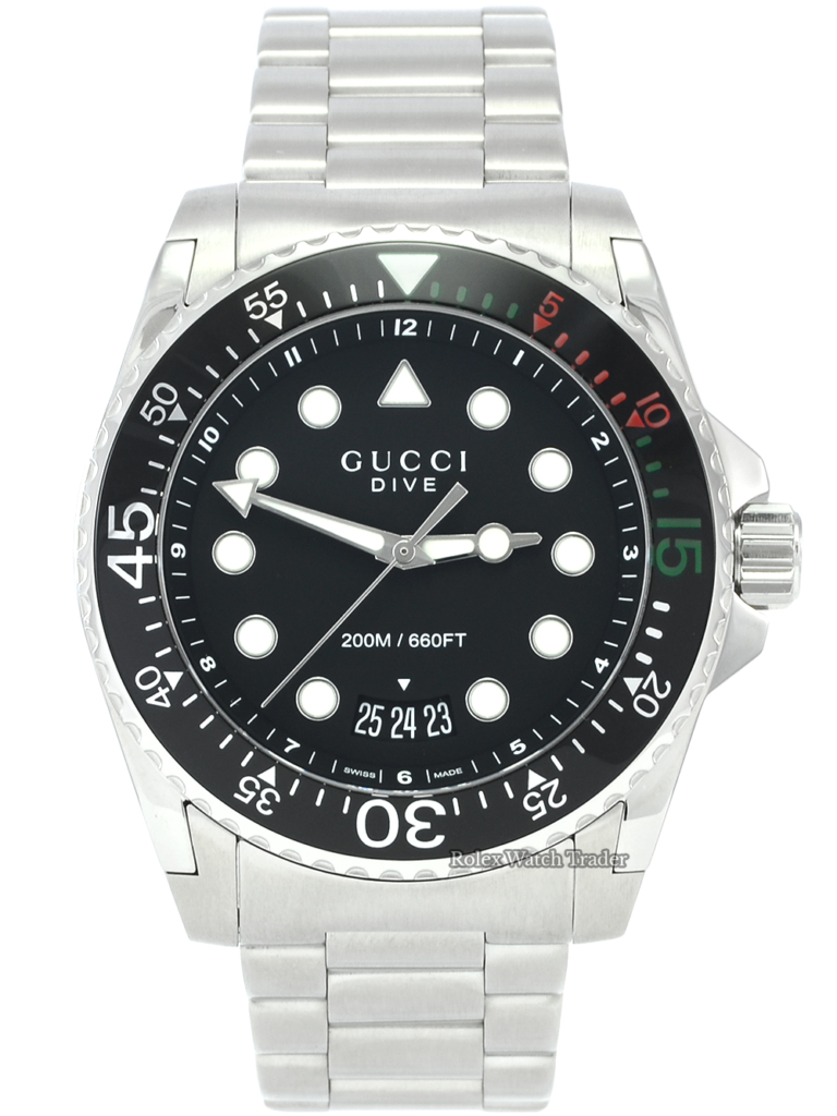 Gucci Dive XL YA136208 Unworn 45mm Stainless Steel Brand New Men's For Sale Available Purchase Buy Online with Part Exchange or Direct Sale Manchester North West England UK Great Britain Buy Today Free Next Day Delivery Warranty Luxury Watch Watches