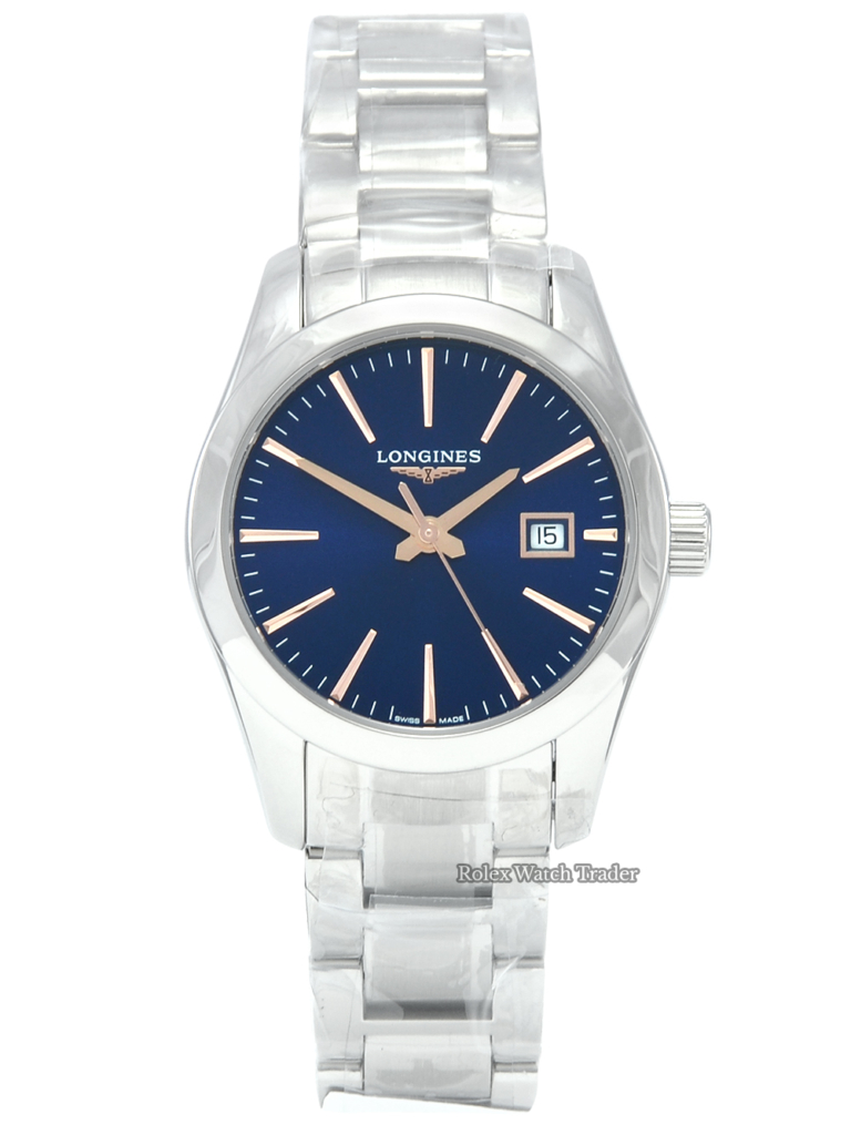 Longines Conquest Classic L2.286.4.92.6 Brand New Unworn Ladies' Women's Blue Baton Dial with Rose Gold Detailing Date Stainless Steel Sapphire Crystal 2021 Box & Papers For Sale Available Purchase Buy Online with Part Exchange or Direct Sale Manchester North West England UK Great Britain Buy Today Free Next Day Delivery Warranty Luxury Watch Watches