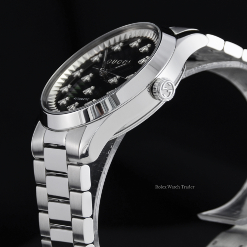 Gucci G-Timeless Automatic YA1264130 38mm Black Onyx Bee Motif Dial Stainless Steel Brand New Unworn For Sale Available Purchase Buy Online with Part Exchange or Direct Sale Manchester North West England UK Great Britain Buy Today Free Next Day Delivery Warranty Luxury Watch Watches