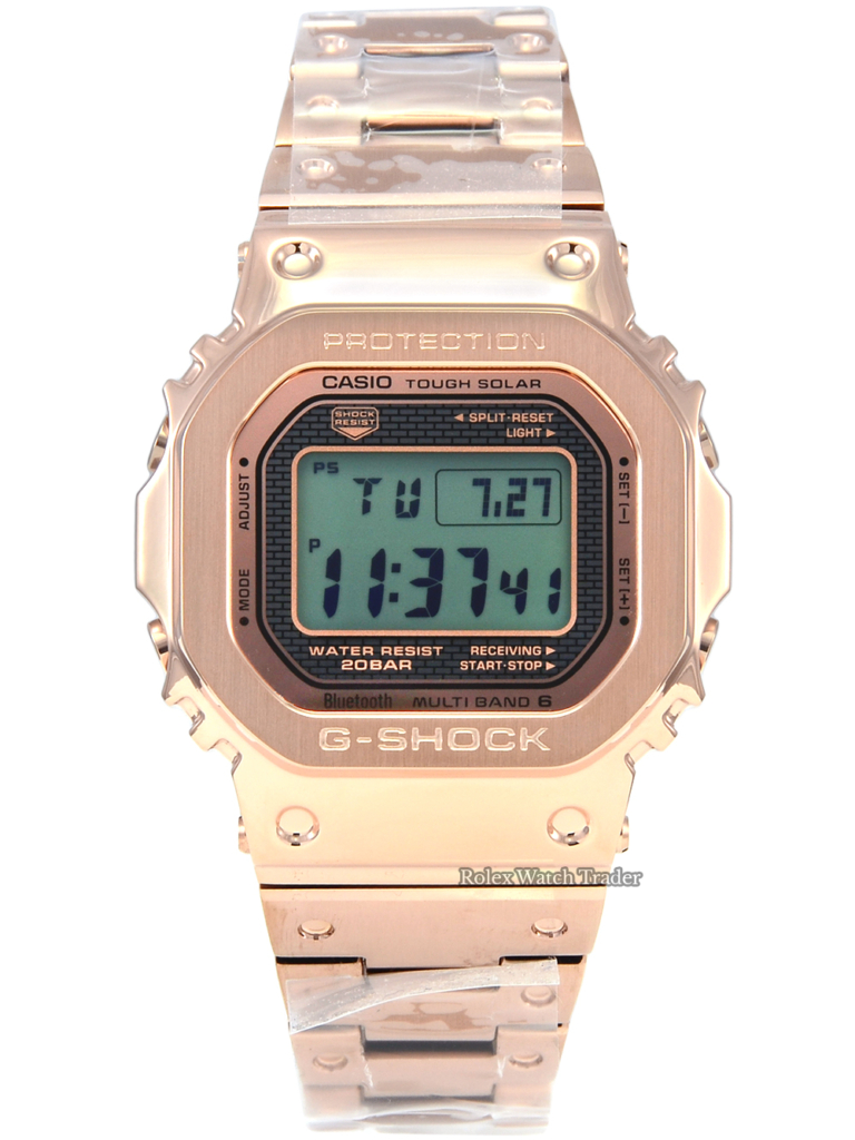 Casio G-Shock Full Metal Solar Rose Gold GMW-B5000GD-4ER 35th Anniversary Edition Unworn Ion Plated PVD Stainless Steel LCD Display Waterproof Men's For Sale Available Purchase Buy Online with Part Exchange or Direct Sale Manchester North West England UK Great Britain Buy Today Free Next Day Delivery Warranty Luxury Watch Watches