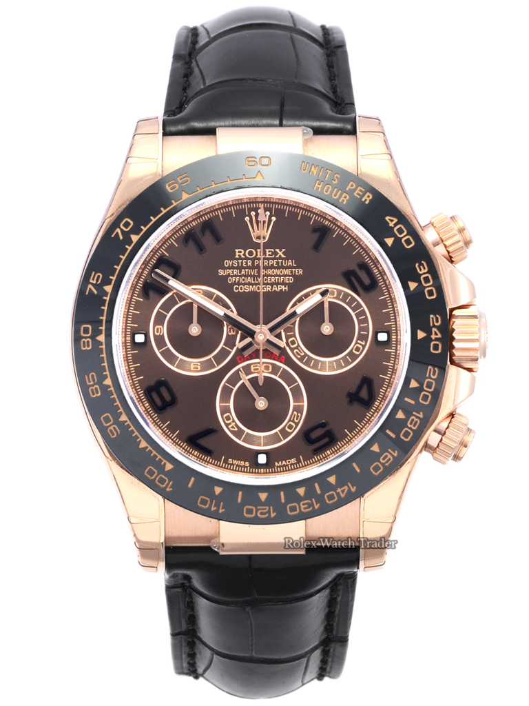 Rolex Daytona 116515LN with Stickers Discontinued Chocolate Arabic Dial Black Alligator Leather Strap Pre-Owned Second Hand Used Previously Owned Black Ceramic Bezel Men's Unisex 40mm Rose Gold For Sale Available Purchase Buy Online with Part Exchange or Direct Sale Manchester North West England UK Great Britain Buy Today Free Next Day Delivery Warranty Luxury Watch Watches