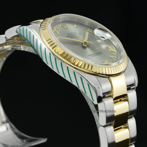 Rolex Datejust 116233 Serviced by Rolex with Stickers and 2 Years Warranty Grey Roman Numeral Dial Pre-Owned Second Hand Used Men's Unisex Women's 36mm Bimetal Stainless Steel & Yellow Gold For Sale Available Purchase Buy Online with Part Exchange or Direct Sale Manchester North West England UK Great Britain Buy Today Free Next Day Delivery Warranty Luxury Watch Watches