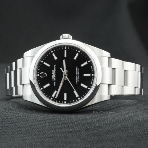 Rolex Oyster Perpetual 114300 39mm Black Dial UK 2020 Pre-Owned Very Good Condition Second Hand Used Stainless Steel Classic Men's For Sale Available Purchase Buy Online with Part Exchange or Direct Sale Manchester North West England UK Great Britain Buy Today Free Next Day Delivery Warranty Luxury Watch Watches