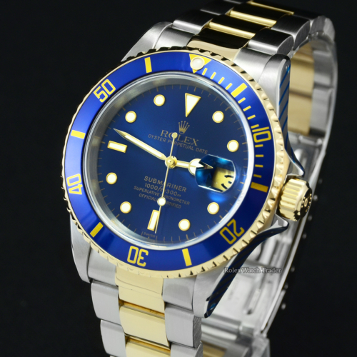 Rolex Submariner Date 16613 SERVICED BY ROLEX Bi-Metal Box & Papers Blue Dial Pre-Owned Used Second Hand 40mm with 2 Years Service Warranty Men's Unisex For Sale Available Purchase Buy Online with Part Exchange or Direct Sale Manchester North West England UK Great Britain Buy Today Free Next Day Delivery Warranty Luxury Watch Watches