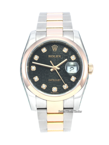 Rolex Datejust 116201 Just Serviced by Rolex with 2 Years Warranty Bi-Metal Two Tone Stainless Steel & Rose Gold Oyster Bracelet Smooth Domed Rose Gold Bezel Black Jubilee Diamond Dot Dial Stickers Men's Women's Unisex For Sale Available Purchase Buy Online with Part Exchange or Direct Sale Manchester North West England UK Great Britain Buy Today Free Next Day Delivery Warranty Luxury Watch Watches