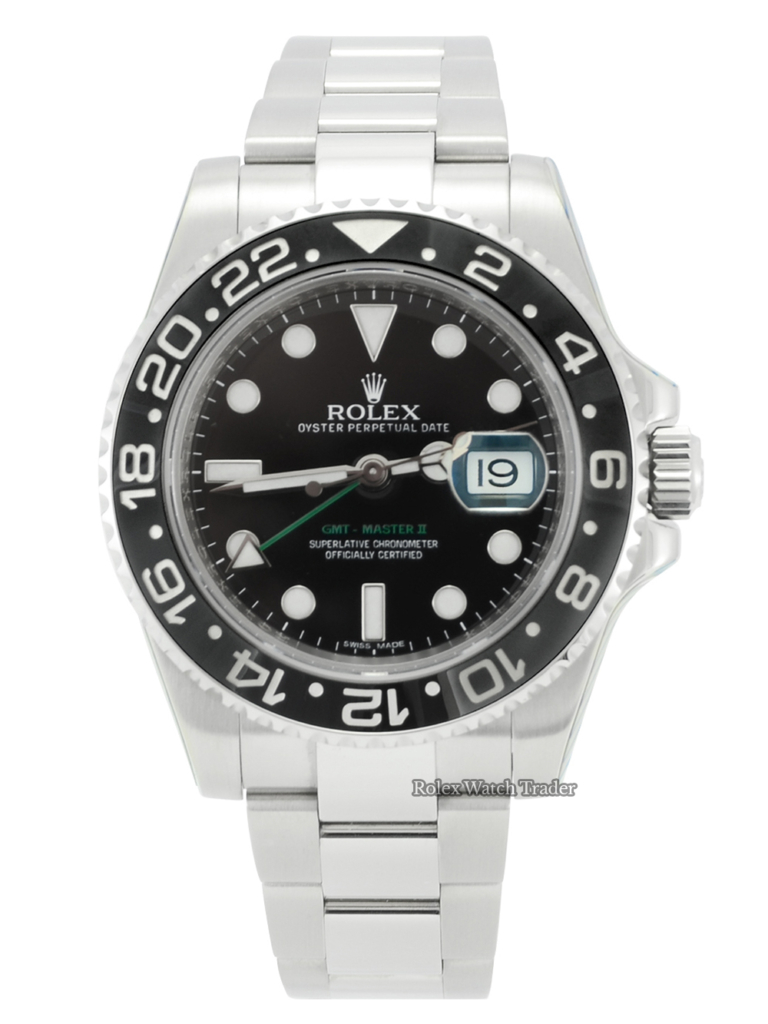 Rolex GMT-Master II 116710LN SERVICED BY ROLEX Stainless Steel 40mm Men's Pre-Owned Used Second Hand Sports Oyster For Sale Available Purchase Buy Online with Part Exchange or Direct Sale Manchester North West England UK Great Britain Buy Today Free Next Day Delivery Warranty Luxury Watch Watches