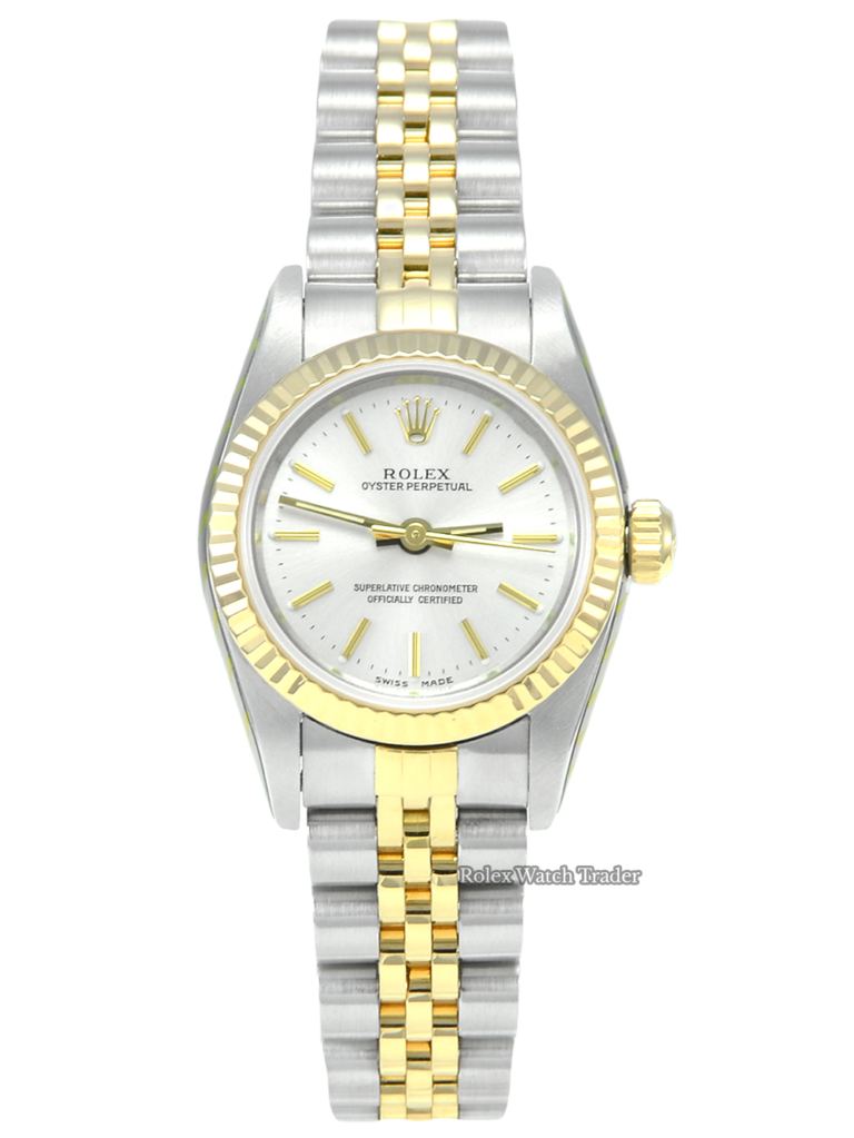 Rolex Oyster Perpetual Lady 76193 Serviced by Rolex UK with 2 Years Warranty Silver Baton Dial Fluted Yellow Gold Bezel Bi-Metal Jubilee Strap in Stainless Steel & Yellow Gold 24 mm Case Box & Papers Women's Ladies' Vintage For Sale Available Purchase Buy Online with Part Exchange or Direct Sale Manchester North West England UK Great Britain Buy Today Free Next Day Delivery Warranty Luxury Watch Watches