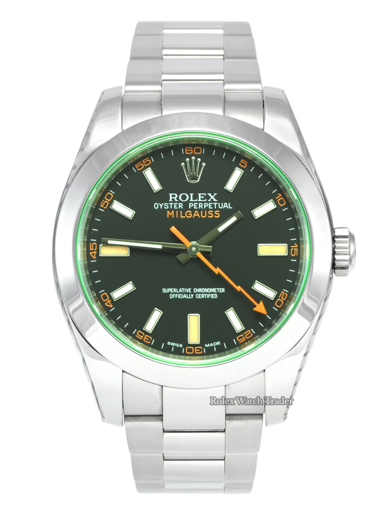 Rolex Milgauss 116400GV Serviced by Rolex with Stickers and 2 Years Warranty Very Good Used Pre-Owned Second Hand Condition Stainless Steel Green Dial Oyster 40mm Sports Men's Gentleman's For Sale Available Purchase Buy Online with Part Exchange or Direct Sale Manchester North West England UK Great Britain Buy Today Free Next Day Delivery Warranty Luxury Watch Watches